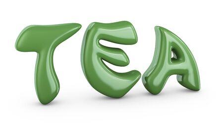 antioxidant: Tea volumetric green sign on a white background 3d render.