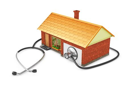 nurse home: House and stethoscope on a white background.