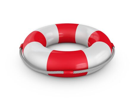 shipwreck: lifebuoy with rope on a white background 3d render