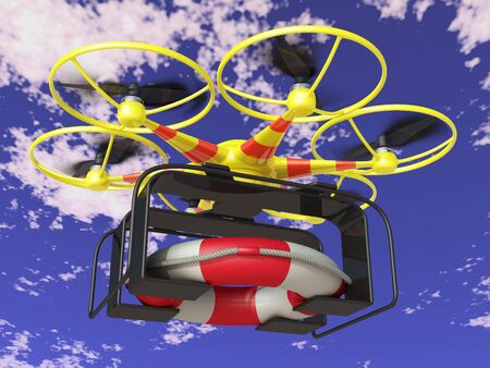 Yellow flying drone transports the lifebuoy on the sky background