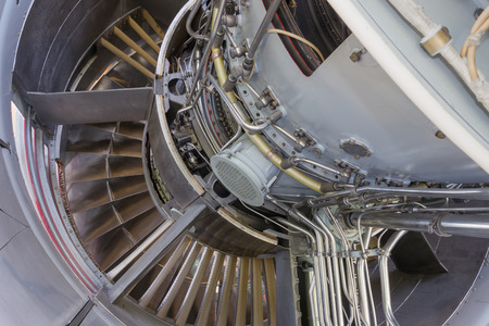 chamber of the engine: Detailed exposure of a turbo jet engine.
