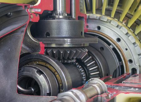 maquina de vapor: Exposición detallada de un motor de jet turbo. Foto de archivo