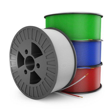 four plastic reel with colored wires, 3d render