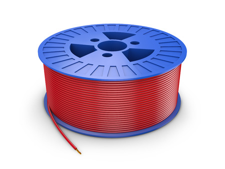blue plastic coil with red wire, 3d render Standard-Bild