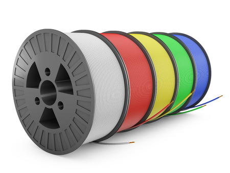 Five plastic reel with colored wires, 3d render