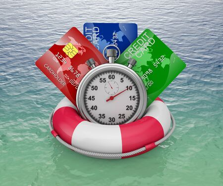 credit cards and stopwatch on a lifebouy