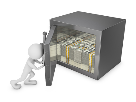 stored: man closes the door of the safe in which are stored a pack of dollars