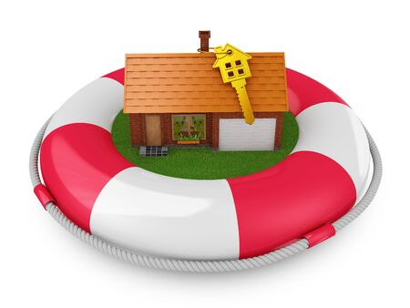 cozy house which is located on lifebuoys photo