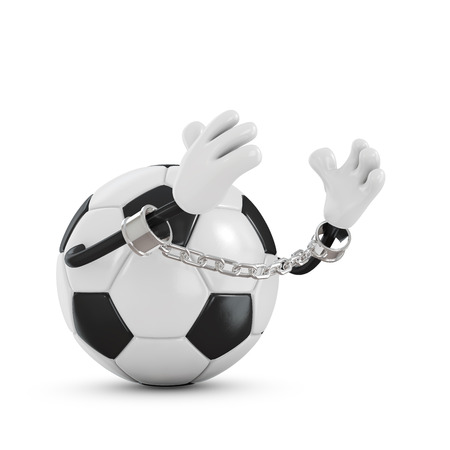Ball for football in handcuffs with a chain
