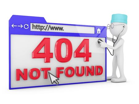 Doctor explores the a web browser with the inscription - 404 Not Found