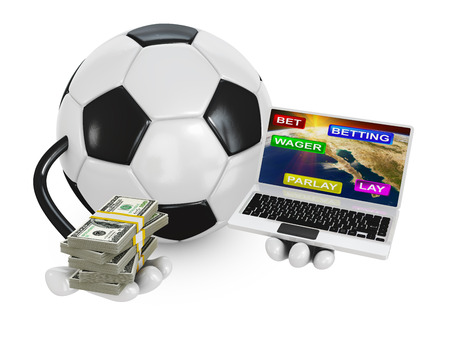 soccer ball holds the a pack of dollars and laptop