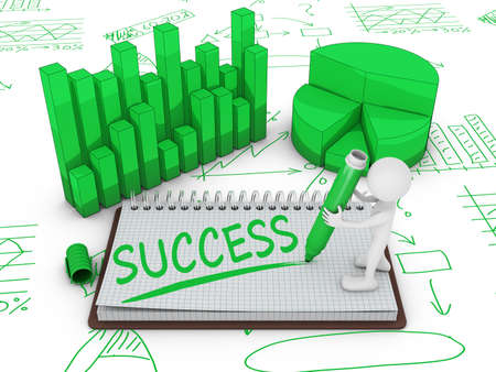 wrote: man on the notepad on the background of different infographics wrote word success Stock Photo