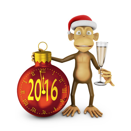 indicate: Funny monkey with a santa hat and a glass of wine and watch the ball in the form indicate the approach of a new 2016 Stock Photo