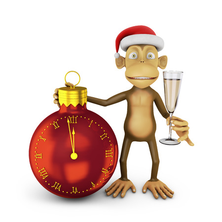 watch glass: Funny monkey with a santa hat and a glass of wine and watch in the shape of a ball indicating the approach of the new year.
