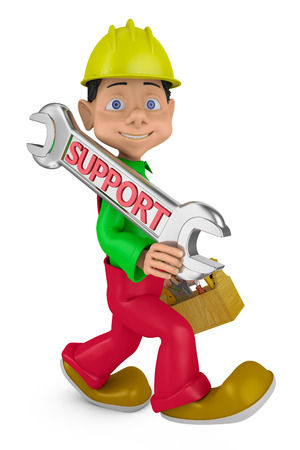 head support: cheerful character with a helmet on his head and a wrench with the inscription support