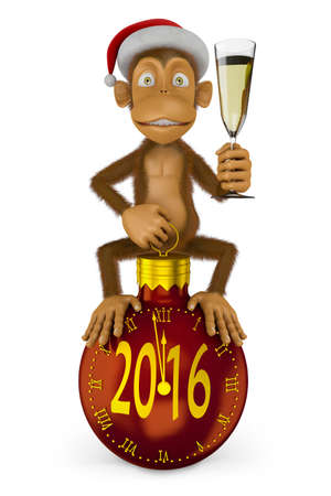 watch glass: Funny monkey with a santa hat and a glass of wine and watch the ball in the form indicate the approach of a new 2016 Stock Photo