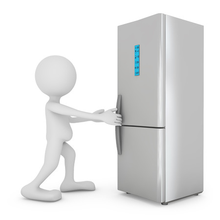 opens: man opens the refrigerator on a white background Stock Photo