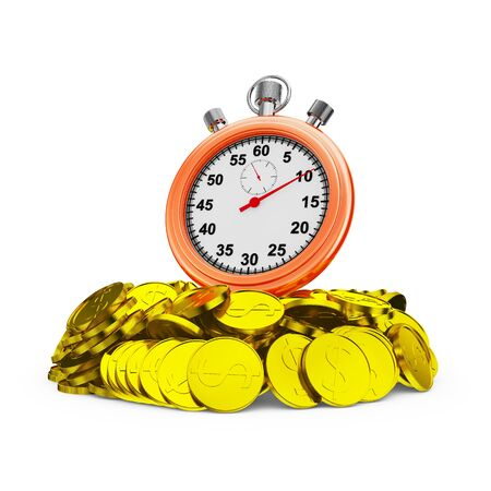 timekeeping: Red stopwatch on a handful of coins