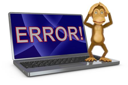 laptop screen: a monkey and a laptop on the screen is an inscription error