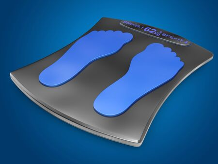 step fitness: smart electronic scales on a blue background Stock Photo