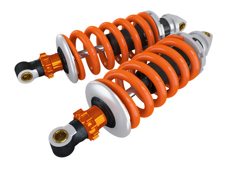 two car garage: shock absorbers for the car on a white background Stock Photo