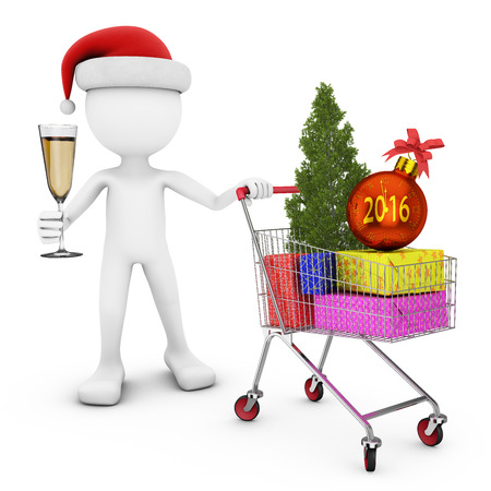 shopping people: man in santa hat and the cart with gifts