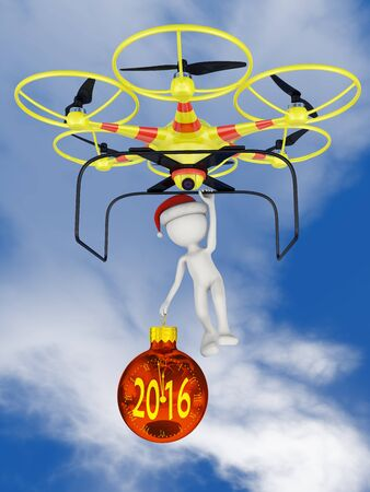 flying hat: Man in santa hat with clock in the form of a ball holding on to a flying drone.