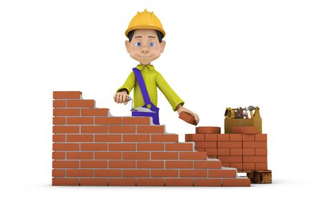 building wall: a man with a trowel building a brick wall Stock Photo