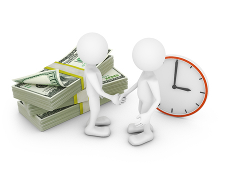 two man on background packs of dollars and clock