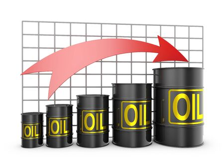pointing up: barrels of oil, and the arrow is pointing up Stock Photo