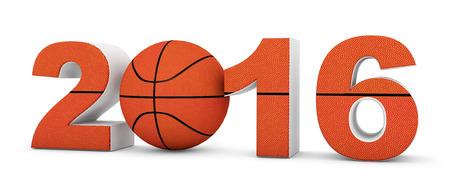 canestro basket: Basket 2016 anno su uno sfondo bianco