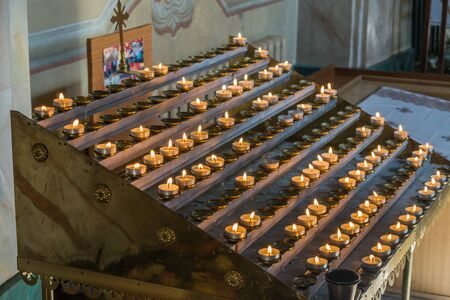 votive: lighted candles in the Greek Catholic church