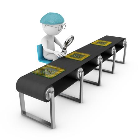 asamblea: hombre con una lupa mirando un chip en la línea de montaje