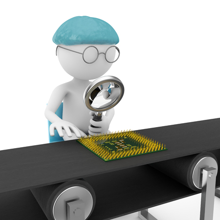 assembly line: man with a magnifying glass looking at a chip on the assembly line