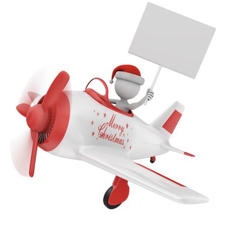 aeronautical: man in santa hat on a plane Stock Photo