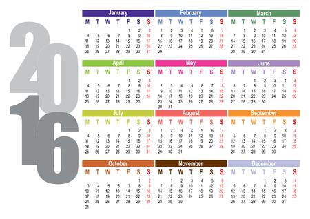october calendar: Vector calendar for 2016, week starts on Monday