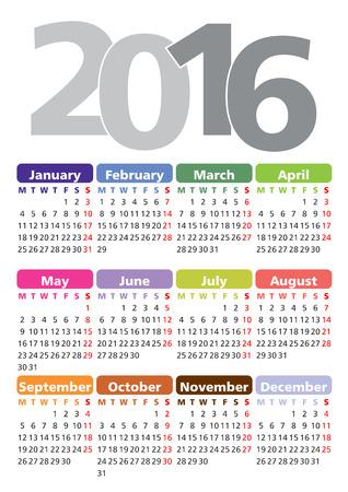 calendario diciembre: Vector calendar for 2016, week starts on Monday