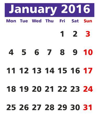 event planner: Vector calendar January 2016, week starts on Monday