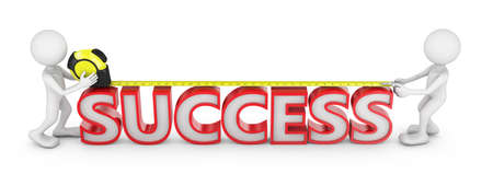 volumetric: mans with a tape measure the length of volumetric inscription success Stock Photo