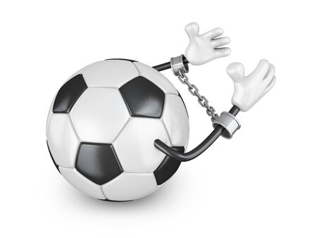 ball chains: Ball for football in handcuffs with a chain