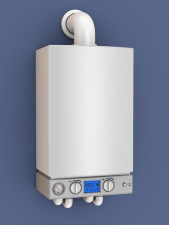 a modern turbofan boiler with the 3D rendering Stock Photo