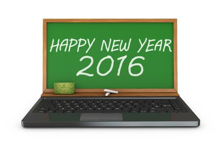 inscription notebook: notebook and chalkboard with the inscription Happy New Year 2016