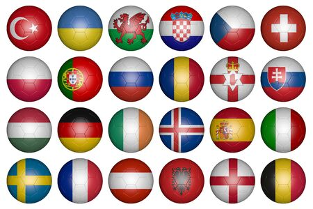 european championship: balls with flags of the countries of the European Championship