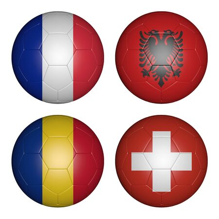 football team: balls with flags of the  Championship, group a