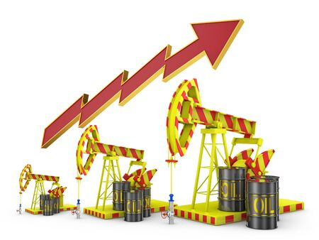 energy crisis: oil pumps and volume arrow on a white background Stock Photo