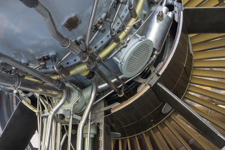 fuel chamber: Detailed exposure of a turbo jet engine.