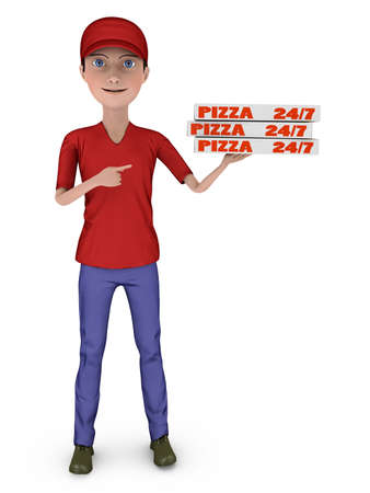 deliver: young boy holding a box of pizza on a white background