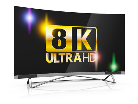 flat screen: modern TV with 8K Ultra HD inscription on the screen