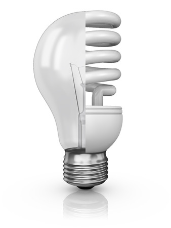 halogen lighting: collage of incandescent and fluorescent lamp on a white background