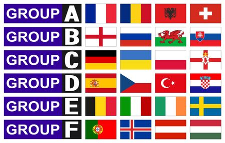 iceland flag: flags football championship are divided into groups Illustration